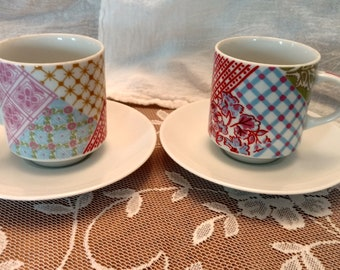 Mismatched Teacups and Saucers set of 2