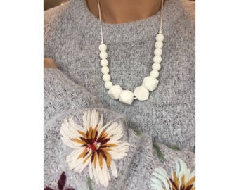 White colour block necklace