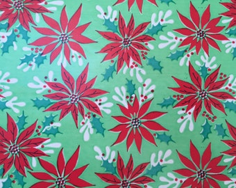 Vintage Christmas Wrapping Paper - Traditional Red Poinsettias and Holly on a Lime Background - 1 Unused Full Sheet Christmas Gift Wrap