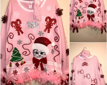 Ugly tacky Christmas Sweater Santa Cat With Boas and Lights and lots of trinkets and a Fancy Matching Scarf  (Award Winner) Sizes XXL& S/CH