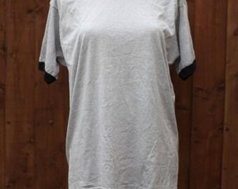 Oversized Grey & Black Ringer T-Shirt