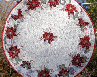 "PAPER PATTERN for a COLLAGE style Good Tidings Christmas 29"" Round Table Topper Quilt"