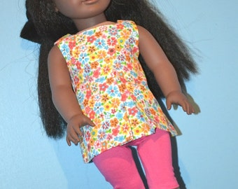 Floral Pleat Front American Made Tunic Top fits 18 Inch Girl Dolls-Pink Capri Leggings and Clog Sandals Optional-Fun Summer Doll Clothes!