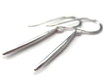 Sterling Silver Spike Earrings Simple Silver Earrings Stick Earrings Minimalist Jewelry