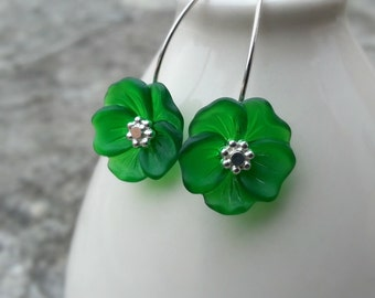Lucite Flower Earrings Emerald Green with Sterling Silver St Patrick's Day Green