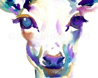 Deer Watercolor Painting Print, Deer Painting, Print of Deer, Nursery Art, Watercolor Art, Watercolor Print, Deer Print, Deer Watercolour