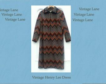 Vintage Henry Lee Dress One Size M/L _Geometric Pattern_Mother's Day Present