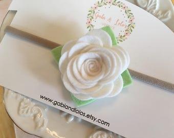 White Rose Felt Headband