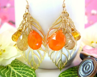 Gold leaf yellow and orange dangle earrings, orange citrine rutilated quartz leaf earrings, Pocahantas leaf cluster earrings