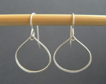 tiny sterling silver wire teardrop earrings hook leverback dangles small silver drops everyday simple jewelry dainty small hoop delicate 3/4