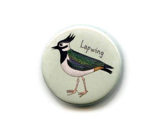 Lapwing Magnet, Wader 38mm Round Button Seabird Fridge Magnet, Memo Board Magnet,