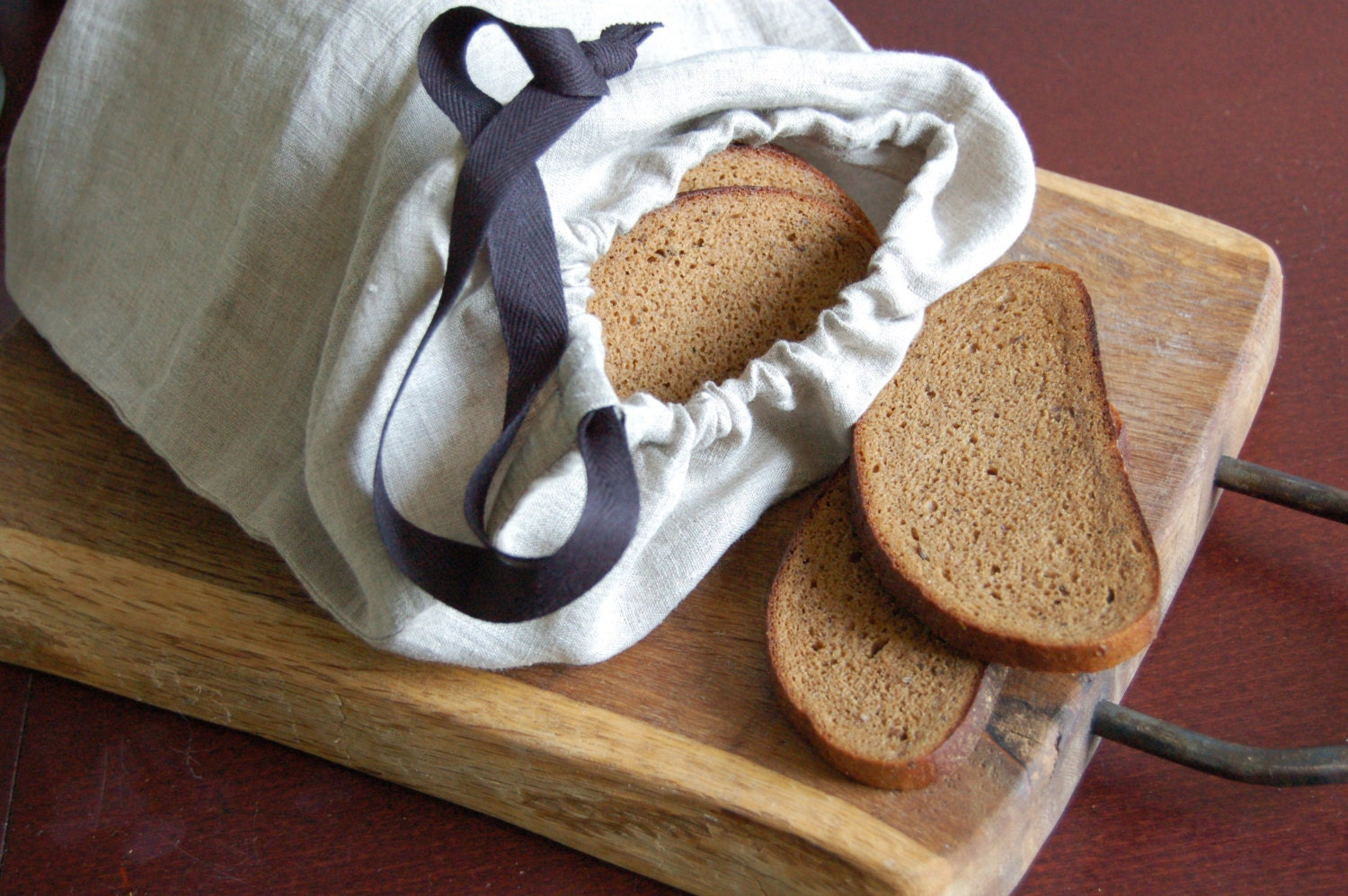 ?zoom & Linen storage bag organic linen bread bag with black cotton