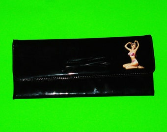 Pinup Girl Bathing Beauty Vintage Refurbished Glossy Black Patent Leather One of a Kind Clutch