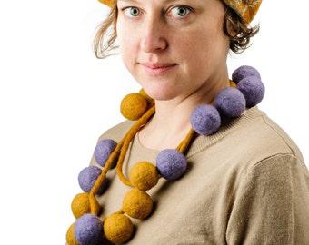 Purple Women's Wool Felt Super Necklace, Felted Necklace, Purple and Yellow Unique Necklace, Feshion Design Necklace