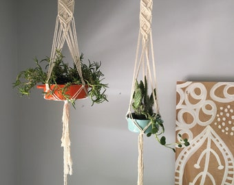Pair of Macrame Hanging Planters for Succulents