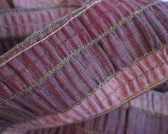 Vintage French Silk and Gold Metallic Ruched Tri Color Ribbon Rare Ribbon 57.50 inches Pink - Rose - Plum - Gold