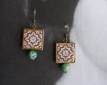 Earrings Tile Portugal Azulejo Antique Portuguese Dangle FRAMED Earrings  Jasper Beads -Barcelos  696