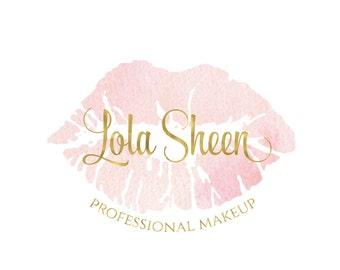 pink lip logo pink lipstick logo beauty blog logo makeup artist logo pink makeup logo cosmetic logo Business logo design beauty logo