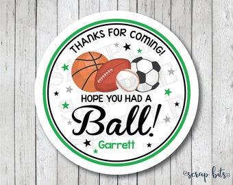 Personalized Sports Party Tags, Sports Birthday Party Stickers, Sports Labels, Sports Stickers, Sports Thank You Tags, Hope You Had A Ball