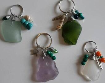 St.Lawrence Seaglass Keychain/ Purse or Zipper Decor Charm