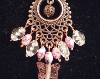jasper butterfly glass and clear acrylic drop chandelier necklace Antique copper one of a kind