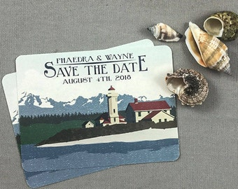 Washington State Lighthouse Save the Date postcard