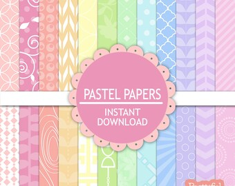 Pastel Digital Scrapbook Paper Pack, Pastel Printable Paper Pack, Instant Download, Commercial Use