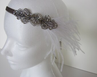 Silver Great Gatsby headband, white feathers headband, 1920s beaded headpiece, black ostrich feathers, flapper dress accessories, custom