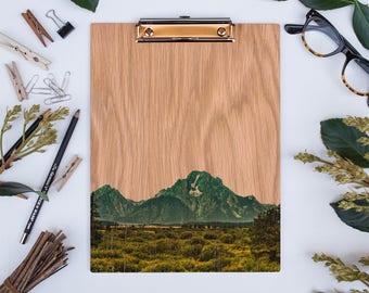 Grand Teton NP, Mount Moran, Wood Clipboard, Natural Wood. The US National Park Collection.