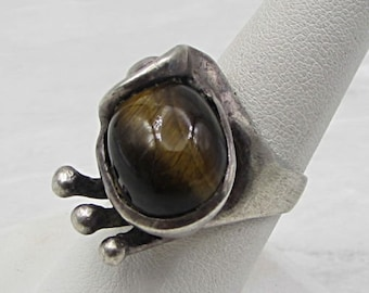 Vintage 925 sterling silver - tigers eye artistic ring sz 8 - r1034