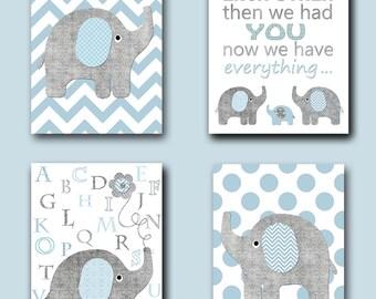 Gray Blue Alphabet Elephant Giraffe Canvas Print Children Art Baby Boy Room Decor Baby Boy Nursery Quotes Baby Nursery Print set of 4