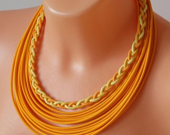 Rope african necklace, yellow necklace, knot necklace, summer necklace, summer style, summer necklace, rope necklace