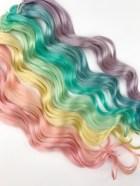 Rainbow Pastel Clip In Hair Extensions Pink Hair Hair Weave