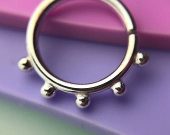 Echo Septum Ring - Solid Nickel Free Sterling Silver - Piercing Septum Daith Helix Rook Nostril