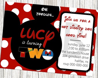 Mickey Mouse Birthday Invitation - Black and red with polka dots
