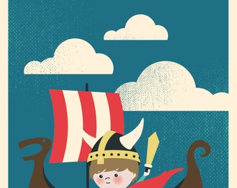 5X7 Children's birthday invitations features viking theme and custom illustration of your child