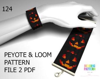 124, halloween peyote, halloween loom, halloween pattern, pattern loom, pumpkins pattern, peyote pattern, beading pattern, loom pattern