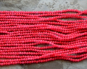 4mm Hot Pink Jade Polished Round Gemstone Beads, 15 Inch Strand (INDOC55)
