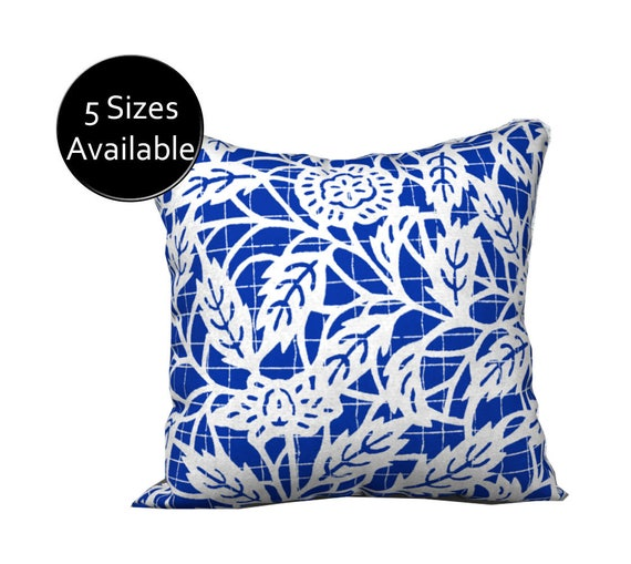 Blue Floral Pillow Printed Pillow Cover White Square Oblong Impressive 36 Inch Square Pillow Cover