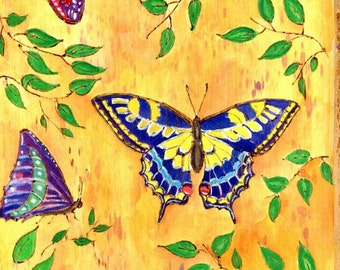 Zen Doodle Woodburned Watercolor Panel Colorful Butterflies