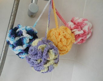 Crochet pouf, cotton gifts for mum, Eco friendly gifts, shower gifts, new home housewarming gift, spa bath, bathroom accessories