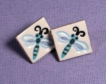Dragonfly Earrings Handmade Porcelain Ceramic Jewelry