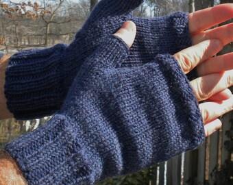 Fingerless Gloves Men's Hand Knit Fingerless Gloves Denim Blue Merino Wool Fingerless Gloves Hand Warmers Men's Denim Blue Merino Gloves