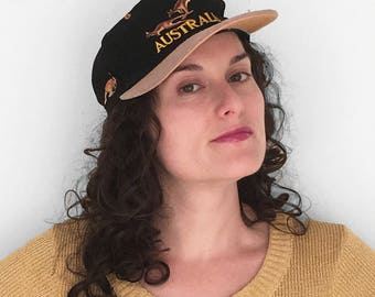 AUSTRALIA Baseball Cap 90s Souvenir Hat Black + Tan Kangaroos Adjustable