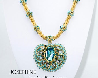 Josephine Necklace with Beautiful center piece Pendant Beadwork Necklace Pdf tutorial instructions for personal use only