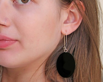Onyx black earrings, statement earrings, black resin earrings, modern minimalist, long lightweight earrings, big oval earrings