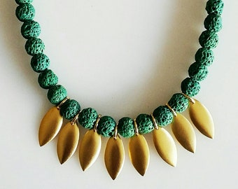 Gift for her. One of a kind classic and gorgeous necklace, green LAVA STONES necklace, UNIQUE necklace, everyday necklace, elegant necklace