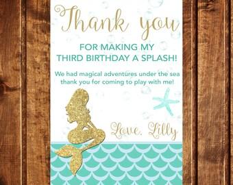 Mermaid Thank You Card - Under the Sea Thank You Card - Mermaid Birthday - Nautical Girl Birthday -  Printable Mermaid Thank You Card