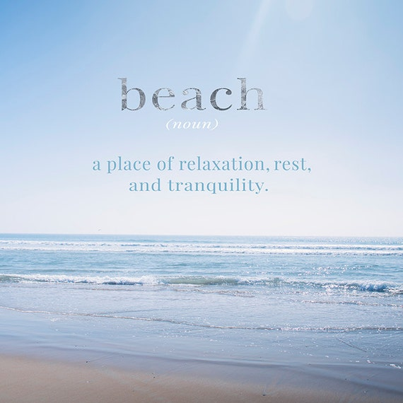Art, Photography, Typography, Print, Beach Scene, Coastal, Summer, Home Decor, Cottage Print, Blue Waves, Sunshine, Seashore
