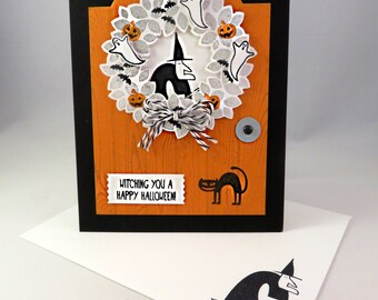 HALLOWEEN WITCH WREATH Handstamped Halloween Greeting Card
